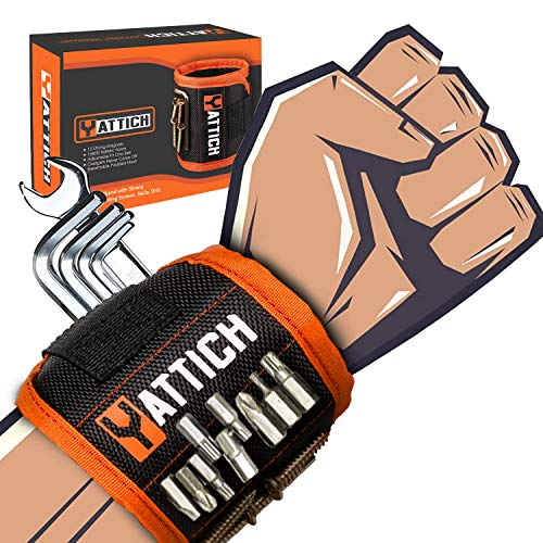 YATTICH Magnetic Wristband for Holding Screw, Tool Belts Gift for Men, Husband, Boyfriend, DIY Handyman, Father, Gift ideas with Gift Box