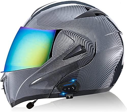 Bluetooth Casco Moto Modular, ECE Homologado Casco de Moto Integral con Anti Niebla Doble Visera, Cascos Integrado con 500mA Auriculares Bluetooth para Mujer Hombre Adultos (Color : 2, Size : M)