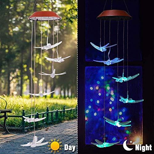 Wskjeiqpl Bunt LED Solar Farbwechsel Flug Tier Windspiel Geeignet Für Innenhof Garten Dekoratives Licht Außen Landschaftslicht Rote Schale_Libelle