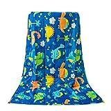 Sivio Couverture pondérée pour Les Enfants Adolescents, 100% Coton Naturel Couverture Lourd de Perles de Verre en Toute sécurité (2.3kg, 90x120cm), réduit l'anxiété Enfants, insomnie, Dinosaure Bleu