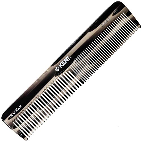 Kent 16T Graphite Double Tooth Hair Dressing Table Comb, Fine/Wide Tooth Dresser Comb For Hair, Beard and Mustache, Coarse/Fine Hair Styling Grooming Comb for Men, Women and Kids. Made in England