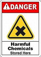 注意サイン-ここに保管されている有害な化学物質。 通行の危険性屋外防水および防錆金属錫サイン