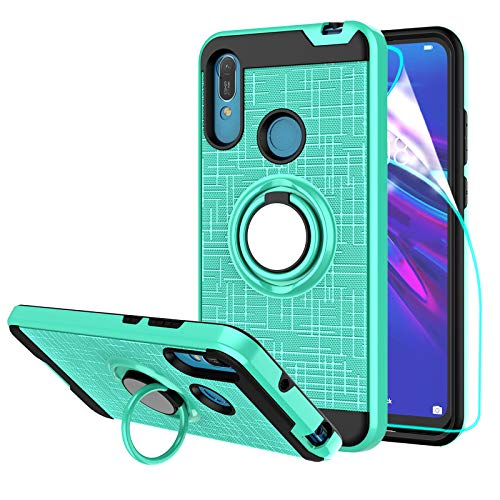 StarLodes Compatible for Huawei Y6 2019 Case,Y6 Pro 2019,Honor 8A Phone Case,[HD Screen Protector] Heavy Duty Shockproof Protective Cover with Rotatable Ring Kickstand-Mint Green