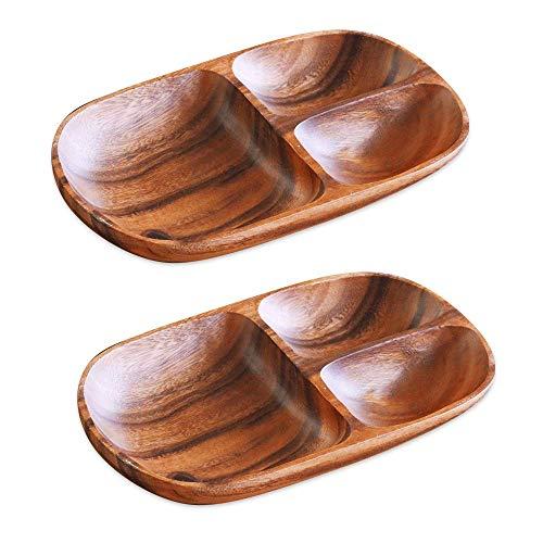アカシア食器 ワンプレート(2枚セット) 食器 皿 仕切り 木製 食器 おしゃれ プレート アカシア 木製食器 木製プレート 北欧 カフェ ナチュラル レクタングル L 仕切付 取扱説明書付