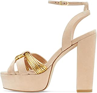 fashion Womens Ankle Strap Sandals Ladies Block Heel Platform Party Peep Toe Shoes Prom Party Shoes Comfortable