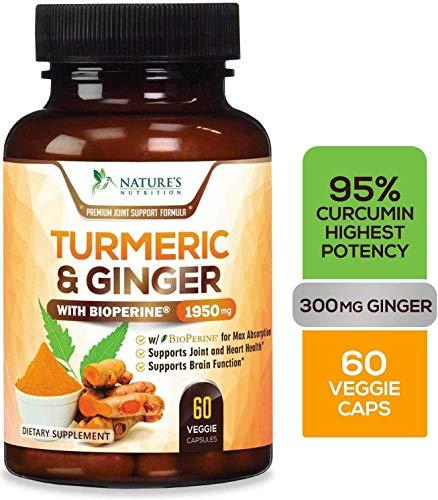 Cúrcuma con Jengibre Nature´s Nutrition | Suplemento | 95% Curcuminoides | Con Pimienta Negra para una Mejor Absorción | 1950 mg | 60 cápsulas