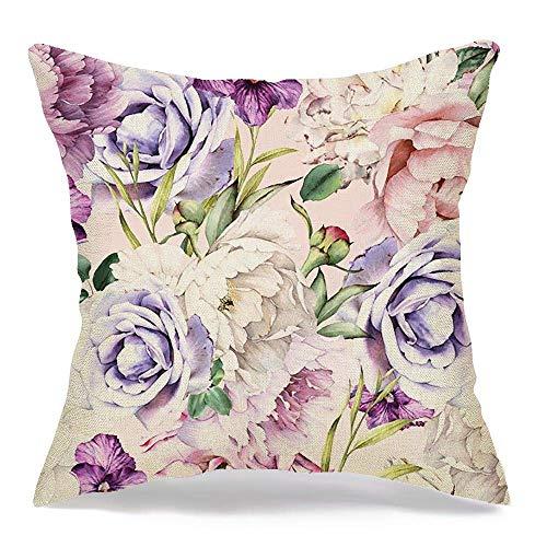 Pamela Hill Throw Pillow Covers Case Seamless Floral Fashion Pattern Flowers Watercolor Vintage Artwork Textures Beautiful Arrangement 18 x 18 Inch