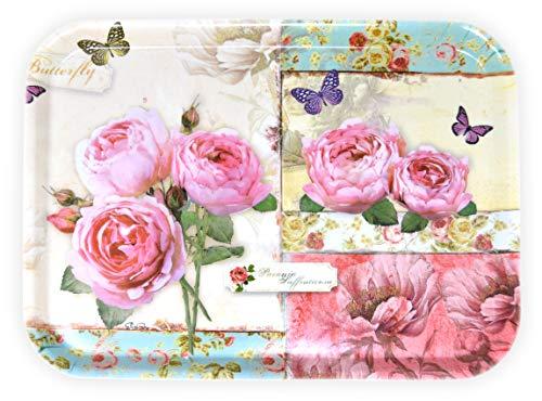 Lashuma Bandeja para servir portátil, de melamina, 38 x 26 cm, resistente, diseño de rosas inglesas