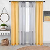 DECOVSUN Yellow Sheer Curtains 108 Inches Extra Long for Living Room Set of 2 Panels Grommet Drapes Window Sheer Curtain Panel for Bedroom Dining Room Yellow and Grey Gray 52x108 Inch