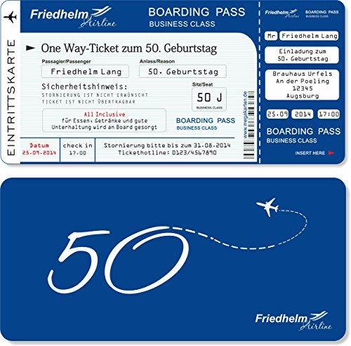 Einladungskarten zum Geburtstag als Flugticket mit Abriss-Coupon Blau 30 Stück