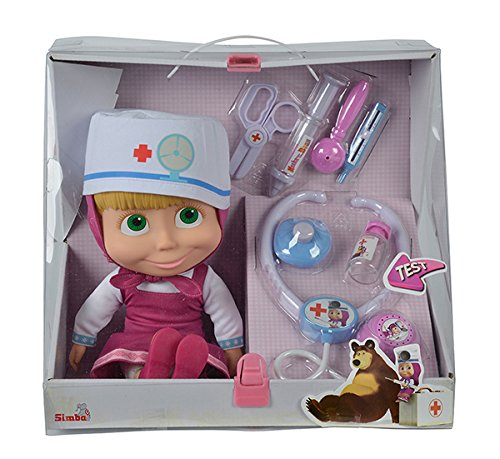 Muñeca de 30cm de Masha y el Oso con maletín médico y