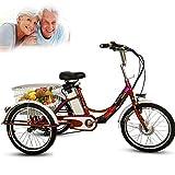 """DNNAL Triciclo per Adulti Elettrico, Carrello per Verdure per Il Tempo Libero della Bicicletta elettrica Trike a 3 Ruote da 20""""con Luce a LED e Cestino della Spesa,Rosso"""