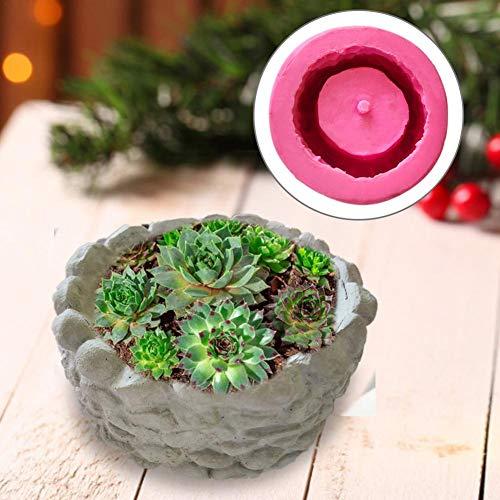 Seasaleshop- Moule en Silicone pour Plante Pot De Fleurs, DIY 3D Souche Succulente Plante Pot De Fleur Moule en Silicone Ciment De Gypse Charnue Fleur Bonsai Moule en Silicone