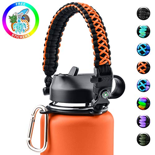 Sunnywoo Paracord Handle for Hydro Flask and Other Wide Mouth Bottles,Water Bottle Handle Strap with Safety Ring Holder and Carabiner for Hydro Flask Wide Mouth Water Bottles 12oz to 64 oz