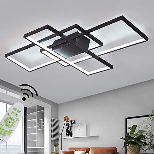 Wohnzimmerlampe Modern LED Decke Dimmbar 3000K-6500K Acryl Lampenschirm Deckenleuchte Chic Eckig Designer-Lampe Esstischlampe Schlafzimmer Fernbedienung Deckenlampe Pendelleuchte Flur Lampe (Schwarz)