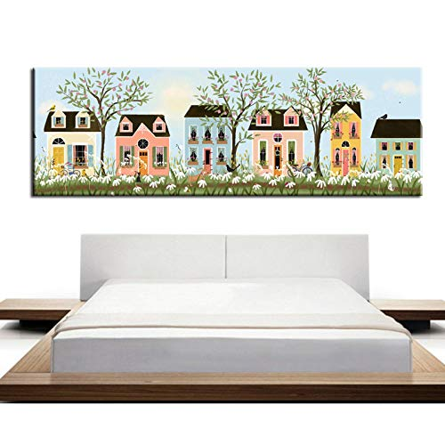 N / A Warm Home Decoration on Street Area with Mural Poster Painted on Canvas Frameless 20x60cm