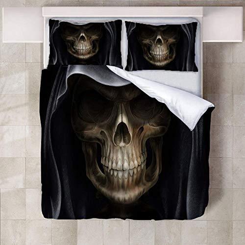 ARTEZXX Ropa de Cama Conjunto de 3 Piezas - Muerte - 100% Tejido de poliéster Cubierta de la Colcha de Dormitorio(1 Cubierta de Colcha + 2 Fundas de Almohada) Doble