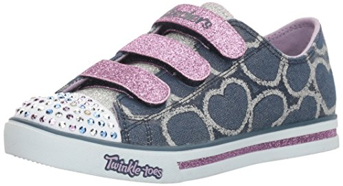 Skechers Mädchen Sparkle Glitz-Heartsy Glam Sneakers, Blau (Dnlv), 32 EU