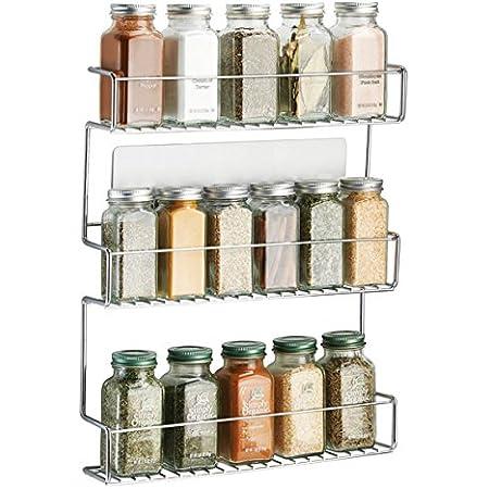 mDesign Especiero de cocina autoadhesivo AFFIXX – Estanterías metálicas para especias con tres estantes – Práctico organizador de especias de color ...