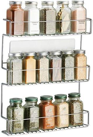 mDesign Especiero de cocina autoadhesivo AFFIXX – Estanterías metálicas para especias con tres estantes – Práctico or...