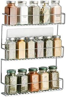 comprar comparacion mDesign Especiero de cocina autoadhesivo AFFIXX – Estanterías metálicas para especias con tres estantes – Práctico organiz...