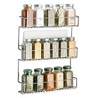 mdesign organizer portaspezie autoadesivo affixx – comodi contenitori spezie da cucina a 3 ripiani – porta spezie da appendere – metallo