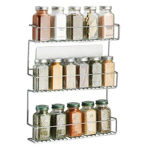 mDesign AFFIXX Gewürzregal selbstklebend - dreistöckige Gewürzaufbewahrung - praktisches Küchenregal ohne Bohren – Metall