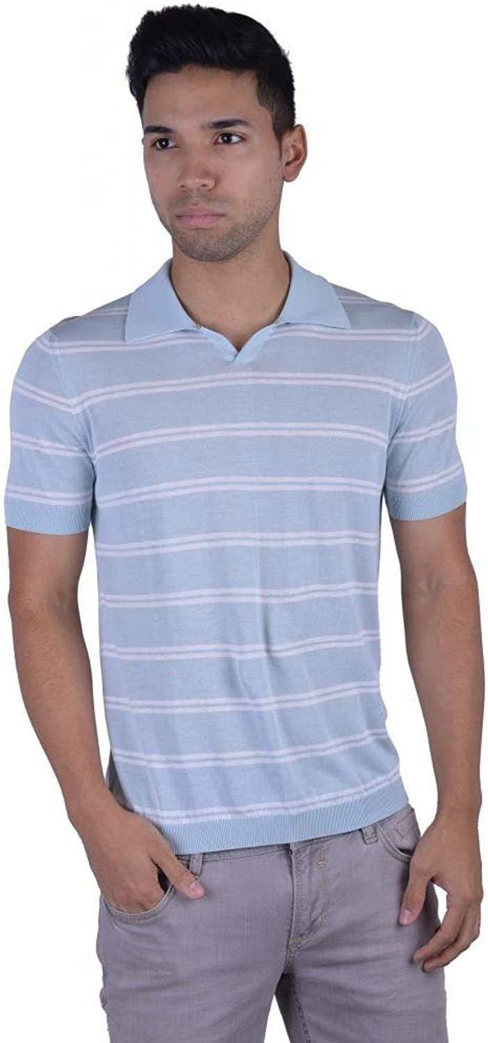 Malo Men's Multi-color Striped Knitted Polo Style V-Neck Shirt