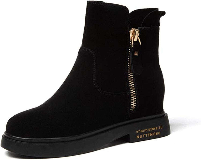 YAN Damenstiefel Herbst Winter Chelsea-Stiefel aus Wildleder Doppelte Reiverschlussschuhe Matte Leather Stiefelies