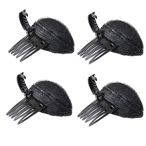 4 PCS Perfect Puff Hair Head Cushion?Bump It Up Hair Clip,Front Hair Base Hairpin Comb,Fluffy Princess Styling Insert Tool for Women Girls (Black)