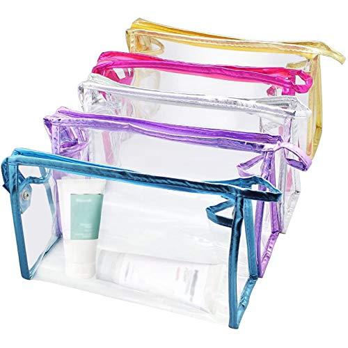 Bolsa Transparente de PVC, Bolsa de cosméticos Transparente Impermeable, Bolsa de Lavado de Gran Capacidad, Bolsa de Almacenamiento portátil, Juego de 5 Piezas