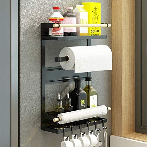 HYISHION Magnetisches Kühlschrankregal, Hängeregal für Kühlschrank, Küche Kühlschrank Organizer Rack mit 6 Haken, Kühlschrank Regal Hängeregal,Schwarz