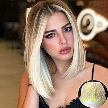 Kreesi Short Blonde Wigs for Women Synthetic Straight Blonde Bob Wig with Dark Brown Roots Shoulder Length Blonde Ombre Wig Middle Part Heat Resistant Fiber Hair Party Cosplay Wigs