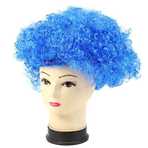 symboat payaso Disco disfraz niñas chicos rizado Cabello Peluca Adulto Niño Halloween Cosplay Fournitures, azul