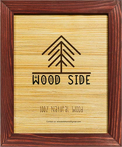 Rustic Wooden Picture Frame 11x14-100% Natural Solid Eco Distressed Wood for Wall Mounting Photo Frame - Cherry