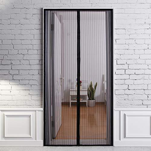 SEGIBUY Magnetisch scherm, met deurversterkte glasvezelnet-gordijn, terrasdeurscherm met volledig frame klittenbandsluiting, zwart