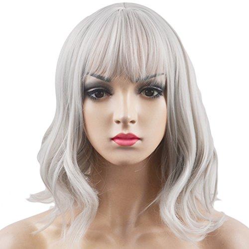 Les femmes de la mode court Bob Curly extensions cheveux perruque moyenne longueur avec de charmantes frappes d'air pour le jour d'usure costume fête cosplay