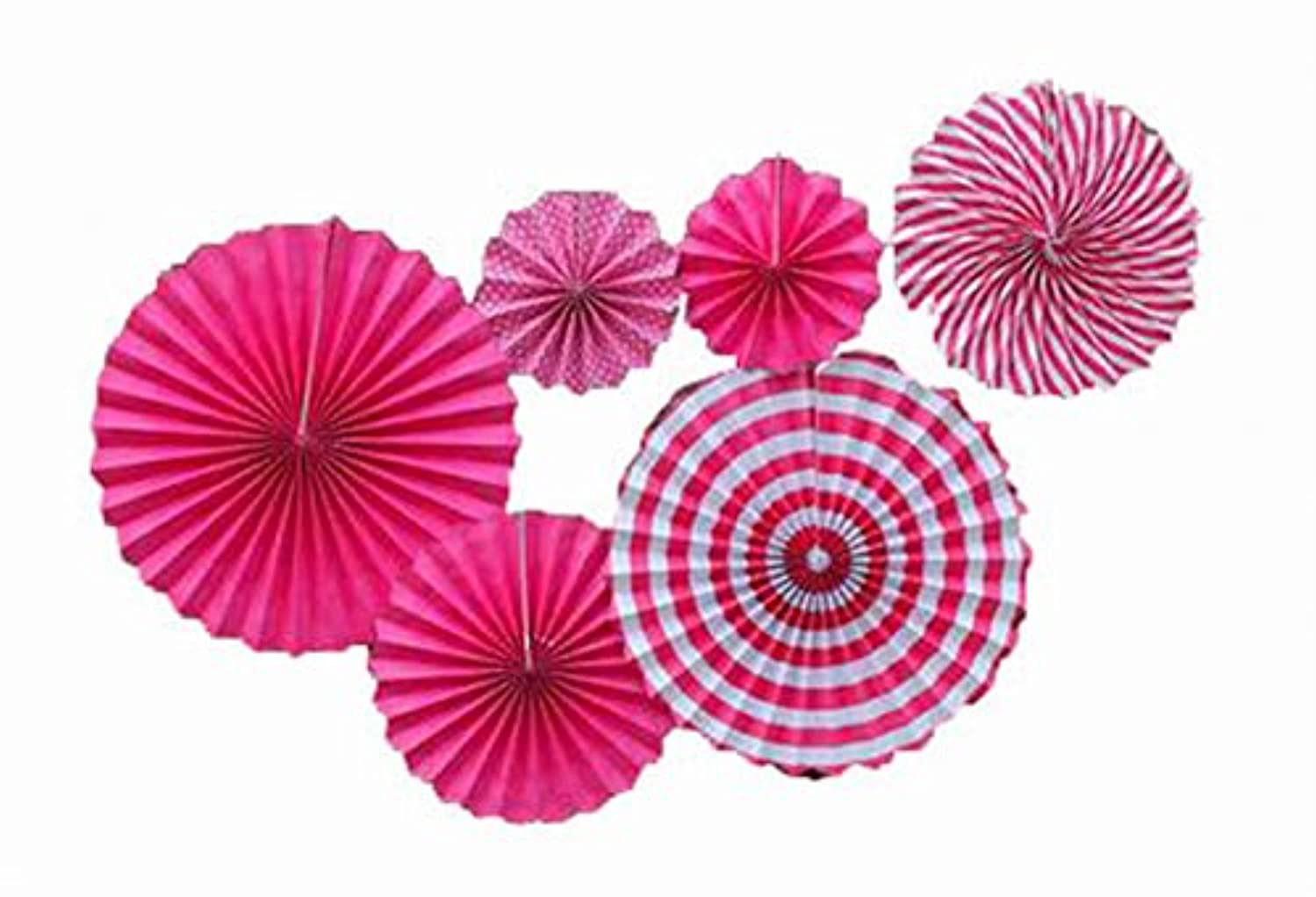 Set of 6 Party Fans in Assorted Size, Hanging Paper Fans for Party Decoration -6pcs(Rose)