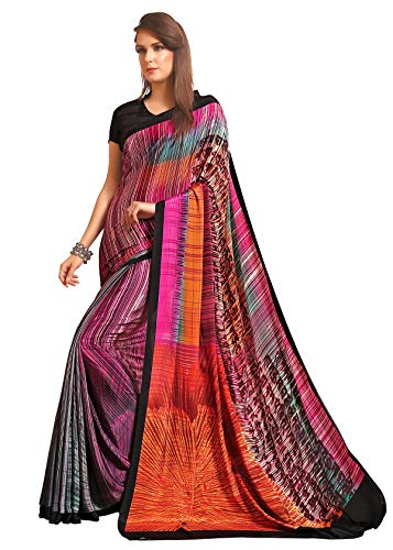 Jaanvi fashion Designer Crepe Silk Printed Sari con blusa sin costura (celebration-7702-c) Rosa