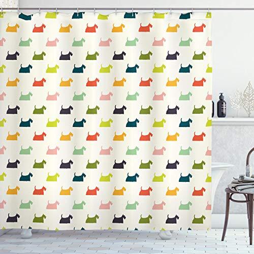 ABAKUHAUS Scottie Dog Duschvorhang, Chubby & Fluffy H&e, mit 12 Ringe Set Wasserdicht Stielvoll Modern Farbfest & Schimmel Resistent, 175x240 cm, Mehrfarbig