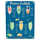OMS PROSECCO COCKTAILS VINTAGE STYLE METAL WALL SIGN TIN PLAQUE SHABBY CHIC KITCHEN PICTURE RETRO DECOR