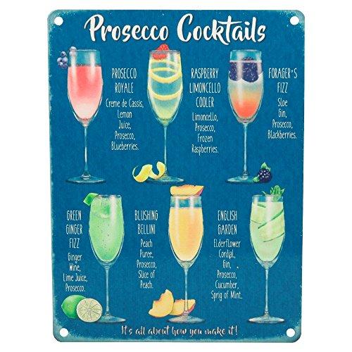 """Vintage-Wandschild """"Prosecco Cocktails"""" aus Metall, Shabby Chic, Küchendekoration im Retrolook"""