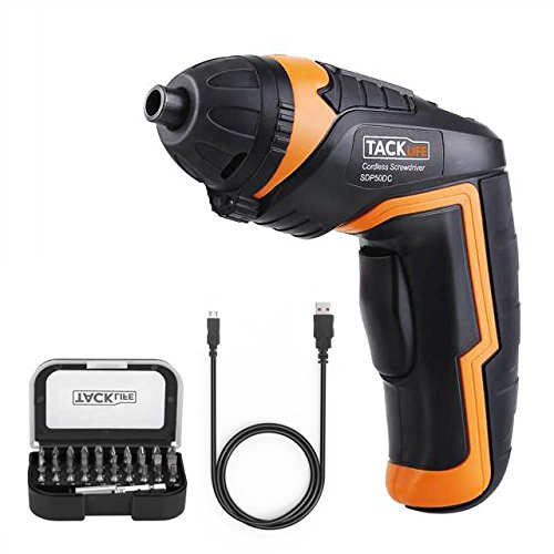 Tacklife SDP50DC Cordless Rechargeable Screwdriver 3.6-Volt 2000mAh Li-ion MAX Torque 4N.m - LED, 31pcs Driver Bits, USB Charging, USB Charging Cable