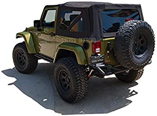 Sierra Offroad 2007-2009 2DR JK Factory Style Soft Top with Tinted Windows, Black Sailcloth