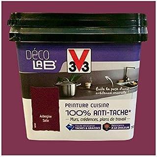 V33 Déco LAB Peinture Cuisine 100% Anti Tâche Aubergine