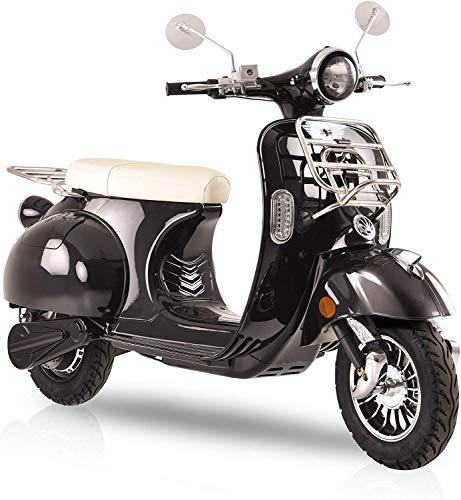 "Elektroroller ""Classico Li"", 3000 Watt, E-Scooter, Elektro-Roller, E-Roller mit Straßenzulassung, 45 km/h, herausnehmbarer Lithium-Akku, Retro Roller, Produktvideo, Schwarz"