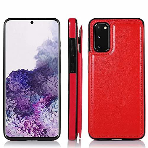 Molg Compatible con Funda Samsung Galaxy S21+/S21 Plus 5G Hebilla Doble Color Puro Alta Grado PU Cuero Caso [Dos Cierres Magnéticos] [Ranuras para Tarjetas] Antigolpes Cáscara-Rosa Roja