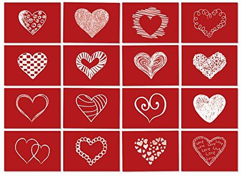 16 Postkarten LIEBE mit roten Herzen mit Umschlag/als Geschenk/Deko/Postkarte/Valentinstag/Hochzeit/Liebesbrief/Heiratsantrag/Geburtstag/Dankeskarte /