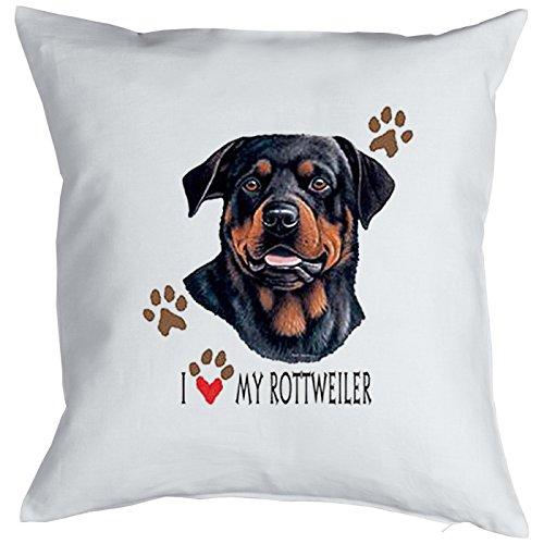 Honden knuffelkussen voor honden of hondenbezitters kussen met vulling I love my Rottweiler cool sierkussen ook voor de auto