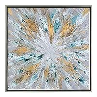 Diva At Home 40インチ 爆発星 ハンドペイント モダン 抽象アート 薄いシルバーリーフフレーム